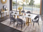 ESF 131 Modern Dining Room Set with Marble Top in Gold