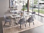 ESF 131 Modern Dining Room Set with Marble Top in Silver