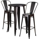 24'' Round Black-Antique Gold Metal Indoor-Outdoor Bar Table Set with 2 Cafe Barstools [CH-51080BH-2-30CAFE-BQ-GG]