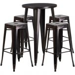 24'' Round Black-Antique Gold Metal Indoor-Outdoor Bar Table Set with 4 Square Seat Backless Barstools [CH-51080BH-4-30SQST-BQ-GG]