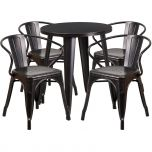24'' Round Black-Antique Gold Metal Indoor-Outdoor Table Set with 4 Arm Chairs [CH-51080TH-4-18ARM-BQ-GG]