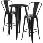 24'' Round Black Metal Indoor-Outdoor Bar Table Set with 2 Cafe Barstools [CH-51080BH-2-30CAFE-BK-GG]