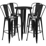 24'' Round Black Metal Indoor-Outdoor Bar Table Set with 4 Cafe Barstools [CH-51080BH-4-30CAFE-BK-GG]