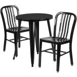 24'' Round Black Metal Indoor-Outdoor Table Set with 2 Vertical Slat Back Chairs [CH-51080TH-2-18VRT-BK-GG]