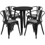 24'' Round Black Metal Indoor-Outdoor Table Set with 4 Arm Chairs [CH-51080TH-4-18ARM-BK-GG]