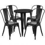 24'' Round Black Metal Indoor-Outdoor Table Set with 4 Cafe Chairs [CH-51080TH-4-18CAFE-BK-GG]