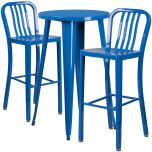 24'' Round Blue Metal Indoor-Outdoor Bar Table Set with 2 Vertical Slat Back Barstools [CH-51080BH-2-30VRT-BL-GG]