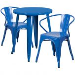 24'' Round Blue Metal Indoor-Outdoor Table Set with 2 Arm Chairs [CH-51080TH-2-18ARM-BL-GG]