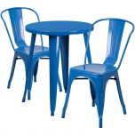 24'' Round Blue Metal Indoor-Outdoor Table Set with 2 Cafe Chairs [CH-51080TH-2-18CAFE-BL-GG]