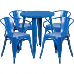 24'' Round Blue Metal Indoor-Outdoor Table Set with 4 Arm Chairs [CH-51080TH-4-18ARM-BL-GG]