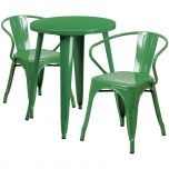 24'' Round Green Metal Indoor-Outdoor Table Set with 2 Arm Chairs [CH-51080TH-2-18ARM-GN-GG]