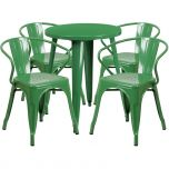 24'' Round Green Metal Indoor-Outdoor Table Set with 4 Arm Chairs [CH-51080TH-4-18ARM-GN-GG]
