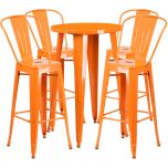 24'' Round Orange Metal Indoor-Outdoor Bar Table Set with 4 Cafe Barstools [CH-51080BH-4-30CAFE-OR-GG]