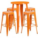 24'' Round Orange Metal Indoor-Outdoor Bar Table Set with 4 Square Seat Backless Barstools [CH-51080BH-4-30SQST-OR-GG]