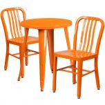 24'' Round Orange Metal Indoor-Outdoor Table Set with 2 Vertical Slat Back Chairs [CH-51080TH-2-18VRT-OR-GG]