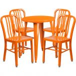 24'' Round Orange Metal Indoor-Outdoor Table Set with 4 Vertical Slat Back Chairs [CH-51080TH-4-18VRT-OR-GG]