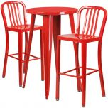 24'' Round Red Metal Indoor-Outdoor Bar Table Set with 2 Vertical Slat Back Barstools [CH-51080BH-2-30VRT-RED-GG]