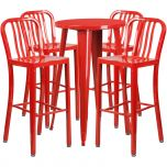 24'' Round Red Metal Indoor-Outdoor Bar Table Set with 4 Vertical Slat Back Barstools [CH-51080BH-4-30VRT-RED-GG]