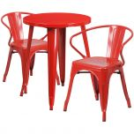 24'' Round Red Metal Indoor-Outdoor Table Set with 2 Arm Chairs [CH-51080TH-2-18ARM-RED-GG]