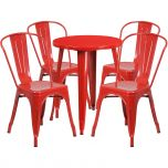 24'' Round Red Metal Indoor-Outdoor Table Set with 4 Cafe Chairs [CH-51080TH-4-18CAFE-RED-GG]