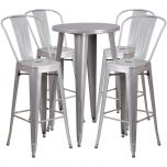 24'' Round Silver Metal Indoor-Outdoor Bar Table Set with 4 Cafe Barstools [CH-51080BH-4-30CAFE-SIL-GG]