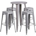 24'' Round Silver Metal Indoor-Outdoor Bar Table Set with 4 Square Seat Backless Barstools [CH-51080BH-4-30SQST-SIL-GG]
