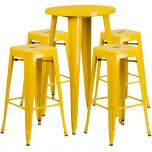 24'' Round Yellow Metal Indoor-Outdoor Bar Table Set with 4 Square Seat Backless Barstools [CH-51080BH-4-30SQST-YL-GG]