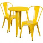 24'' Round Yellow Metal Indoor-Outdoor Table Set with 2 Cafe Chairs [CH-51080TH-2-18CAFE-YL-GG]