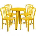 24'' Round Yellow Metal Indoor-Outdoor Table Set with 4 Vertical Slat Back Chairs [CH-51080TH-4-18VRT-YL-GG]