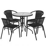 28'' Round Glass Metal Table with Black Rattan Edging and 4 Black Rattan Stack Chairs [TLH-087RD-037BK4-GG]