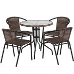 28'' Round Glass Metal Table with Dark Brown Rattan Edging and 4 Dark Brown Rattan Stack Chairs [TLH-087RD-037BN4-GG]
