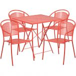 28'' Square Coral Indoor-Outdoor Steel Folding Patio Table Set with 4 Round Back Chairs [CO-28SQF-03CHR4-RED-GG]