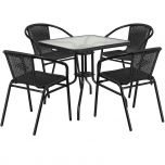 28'' Square Glass Metal Table with Black Rattan Edging and 4 Black Rattan Stack Chairs [TLH-073SQ-037BK4-GG]