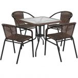 28'' Square Glass Metal Table with Dark Brown Rattan Edging and 4 Dark Brown Rattan Stack Chairs [TLH-073SQ-037BN4-GG]