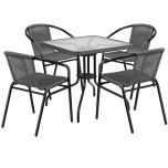 28'' Square Glass Metal Table with Gray Rattan Edging and 4 Gray Rattan Stack Chairs [TLH-073SQ-037GY4-GG]
