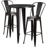 30'' Round Black-Antique Gold Metal Indoor-Outdoor Bar Table Set with 2 Cafe Barstools [CH-51090BH-2-30CAFE-BQ-GG]
