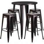 30'' Round Black-Antique Gold Metal Indoor-Outdoor Bar Table Set with 4 Square Seat Backless Barstools [CH-51090BH-4-30SQST-BQ-GG]
