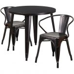 30'' Round Black-Antique Gold Metal Indoor-Outdoor Table Set with 2 Arm Chairs [CH-51090TH-2-18ARM-BQ-GG]