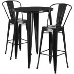 30'' Round Black Metal Indoor-Outdoor Bar Table Set with 2 Cafe Barstools [CH-51090BH-2-30CAFE-BK-GG]