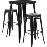 30'' Round Black Metal Indoor-Outdoor Bar Table Set with 2 Square Seat Backless Barstools [CH-51090BH-2-30SQST-BK-GG]