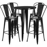 30'' Round Black Metal Indoor-Outdoor Bar Table Set with 4 Cafe Barstools [CH-51090BH-4-30CAFE-BK-GG]