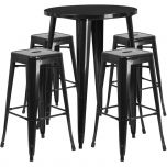 30'' Round Black Metal Indoor-Outdoor Bar Table Set with 4 Square Seat Backless Barstools [CH-51090BH-4-30SQST-BK-GG]