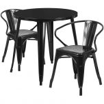 30'' Round Black Metal Indoor-Outdoor Table Set with 2 Arm Chairs [CH-51090TH-2-18ARM-BK-GG]
