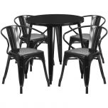 30'' Round Black Metal Indoor-Outdoor Table Set with 4 Arm Chairs [CH-51090TH-4-18ARM-BK-GG]