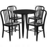 30'' Round Black Metal Indoor-Outdoor Table Set with 4 Vertical Slat Back Chairs [CH-51090TH-4-18VRT-BK-GG]
