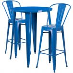 30'' Round Blue Metal Indoor-Outdoor Bar Table Set with 2 Cafe Barstools [CH-51090BH-2-30CAFE-BL-GG]