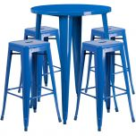 30'' Round Blue Metal Indoor-Outdoor Bar Table Set with 4 Square Seat Backless Barstools [CH-51090BH-4-30SQST-BL-GG]
