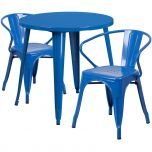 30'' Round Blue Metal Indoor-Outdoor Table Set with 2 Arm Chairs [CH-51090TH-2-18ARM-BL-GG]
