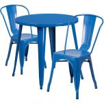 30'' Round Blue Metal Indoor-Outdoor Table Set with 2 Cafe Chairs [CH-51090TH-2-18CAFE-BL-GG]