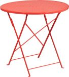 30'' Round Coral Indoor-Outdoor Steel Folding Patio Table [CO-4-RED-GG]